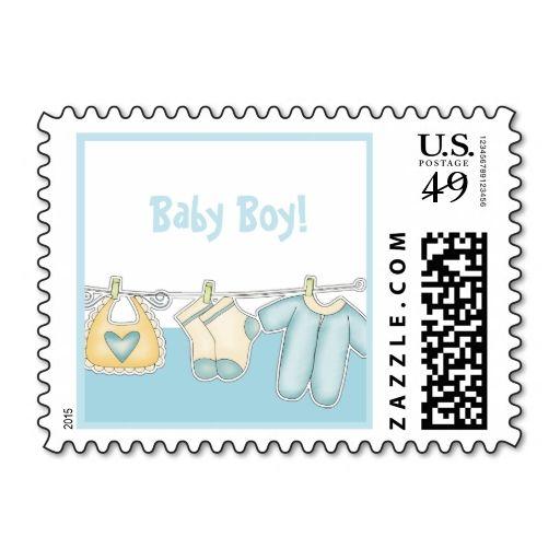 Baby Boy Birth Announcement Stamps