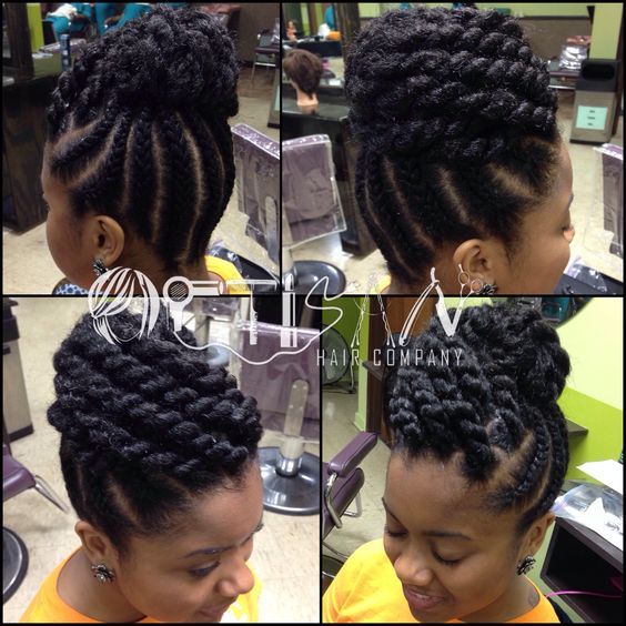 Swell Braided Updo Hairstyles For Natural Hair And Updo On Pinterest Hairstyles For Women Draintrainus