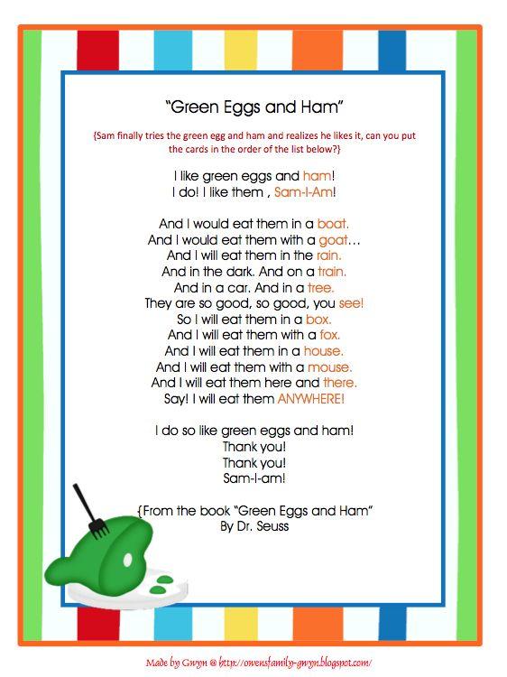 Preschool Printables Green Eggs And Ham Rhyming Words