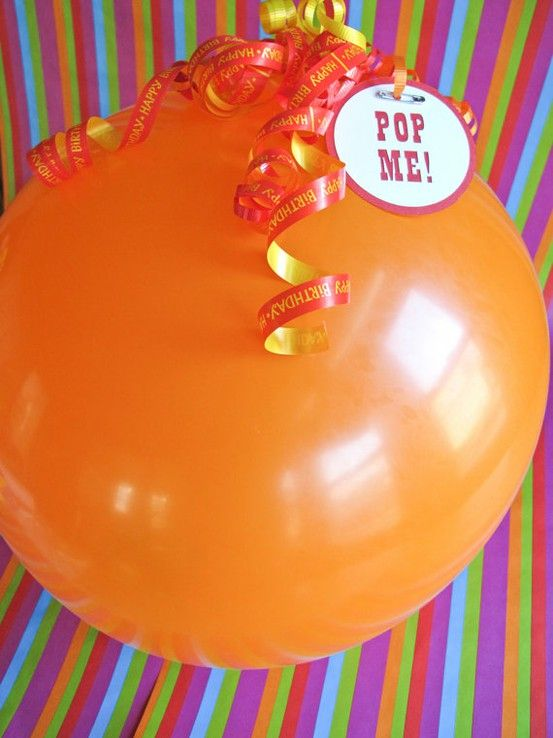"""Gift wrapping ideas for a gift card- place gift card into balloon, blow up balloon, attach a tag that says """"pop me""""!"""