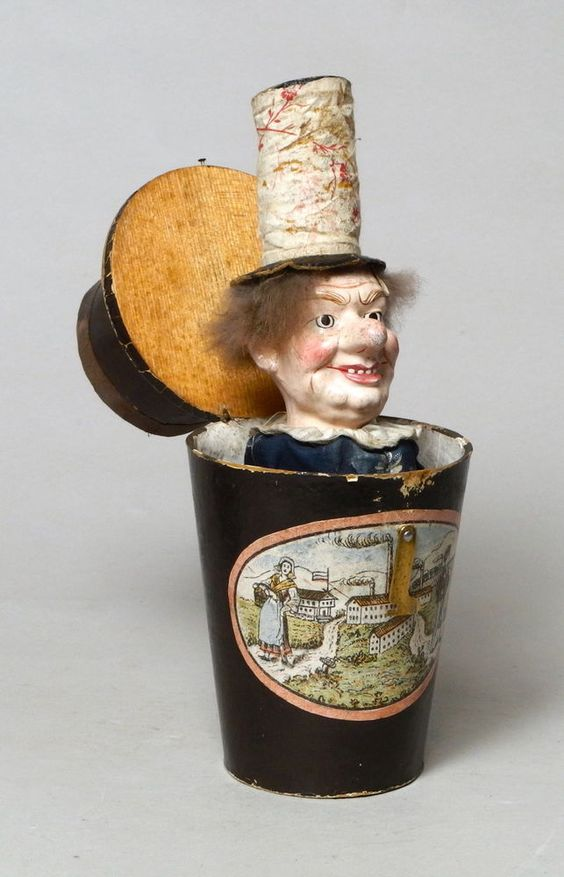 A VERY RARE ANTIQUE 19THC VICTORIAN JACK IN A BOX, PUPPET TOY