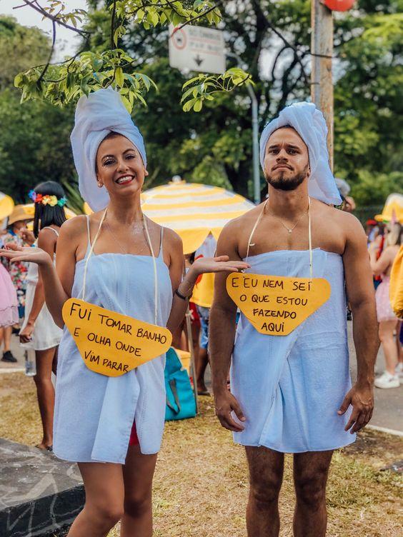 Fantasia de casal toalha feito por @evangelistavi