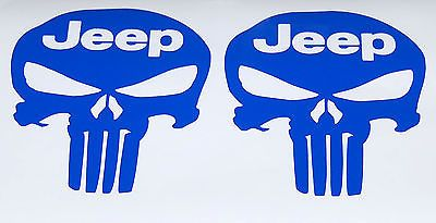 "2X 5"" BLUE PUNISHER SKULL JEEP TEXT VINYL DECAL STICKERS NEW"