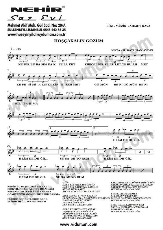 Hoscakalin Gozum Ahmet Kaya Nota Baglama Saz Turku Notalari Muzik Notalari Muzik