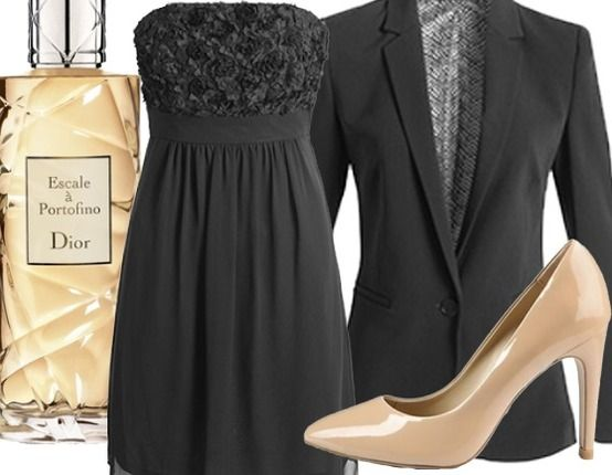 Elegantes Abendoutfit ♥ Hier kaufen: http://www.stylefruits.de/abendoutfit-blacky/o2874680 #Schwarz #Gold #Dior #Elegant #Abendoutfit