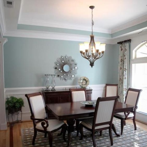 Love the wall color gossamer blue by benjamin for Formal dining room color ideas