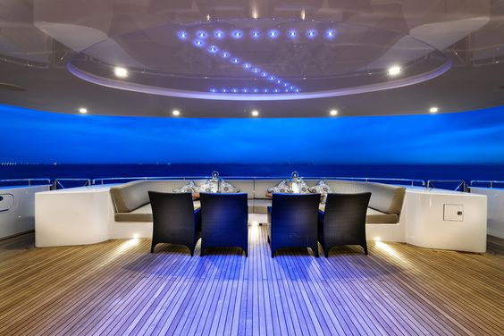 "The outdoor dining terrace onboard the incredible private superyacht ""Zenith"". Designed by ID Studios Pyrmont"
