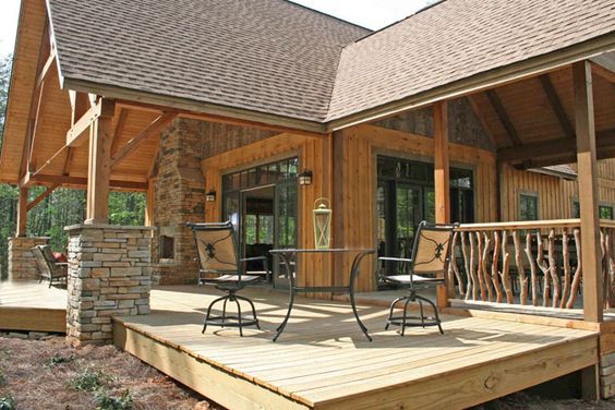 Log home designs rustic home designs timber framed for Rustic porches and decks