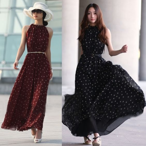 """Material: Chiffon  2 Colors available: Black, Wine Red  Style: Sundress  Size: one size  Occasion: casual   Size: There is one size for the following listing, please allow 1-2cm differs due to manual measurement, thanks (All measurement in cm and please note 1cm=0.39inch)       Free size (only 1 size) About size  XS to L  for western           inch     cm       Length    50.7""""    130cm      Bust    42.9""""      110cm      Waist    54.6""""      140cm      Note: Please compare the detail sizes…"""