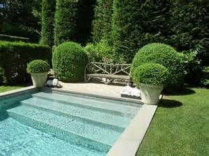 rectangular pool with boxwoods - Bing Images