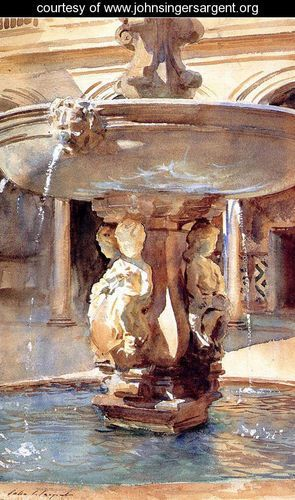 The Spanish Fountain-watercolor by Sargent