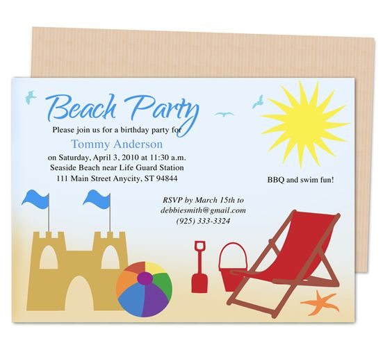 Kids Party Templates Beach Design Birthday Party Invitations Template Prin