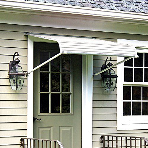 Nuimage Awnings 60425 Series 2500 Aluminum Door Canopy With Support Arms White In 2020 Aluminum Awnings Awning Over Door Door Canopy