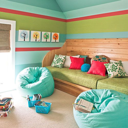 built in daybed inside playroom