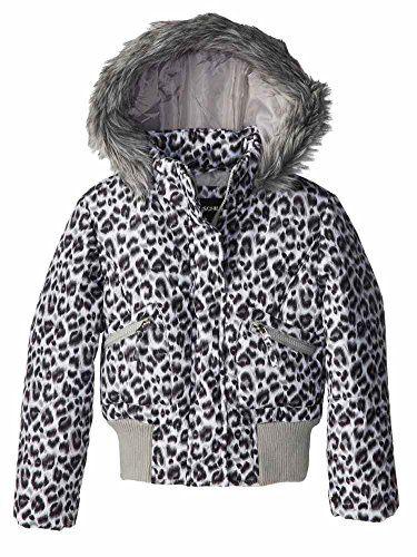 Rothschild Girls Black Snow Leopard Fur Coat Animal Print Puffer