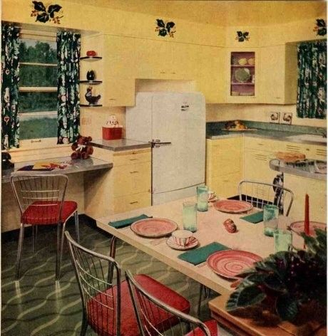 50s american kitchen with pastel yellow tones   cucina americana ...