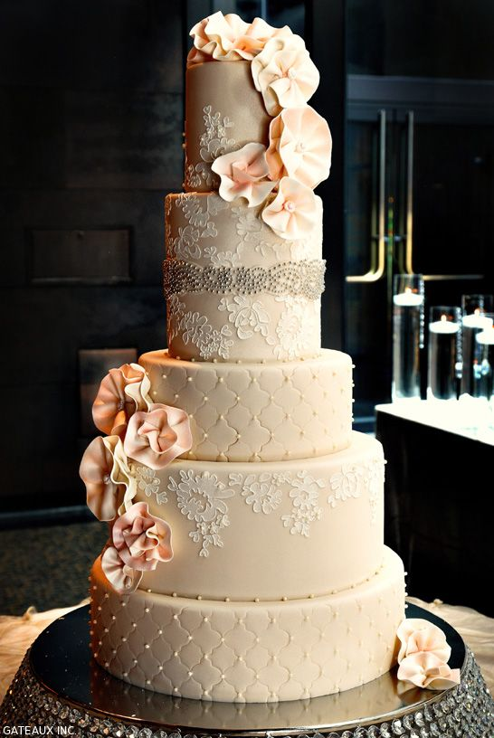 Alencon Lace Wedding Cake | by Gateaux Inc. | TheCakeBlog.com