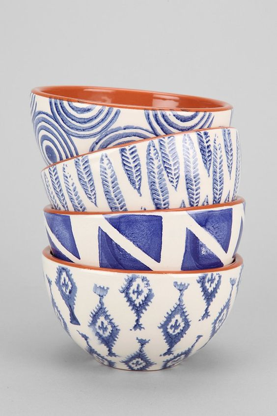 Hand-Stamped Terracotta Bowl - ceramic painting inspiration