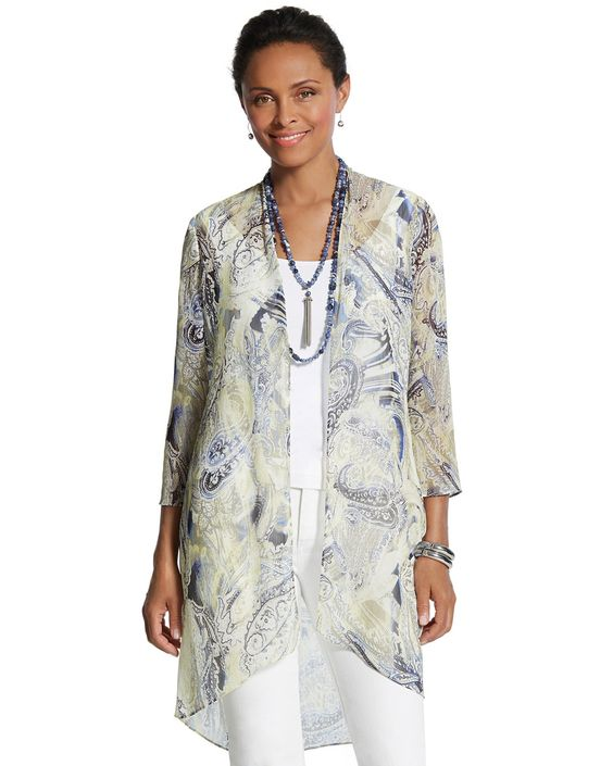 Chico's Women's Arielle Paisley Duster Cardigan