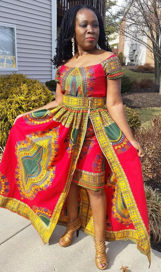Dashiki skirt/Dashiki maxi skirt/African print skirt by AlmaCloset: