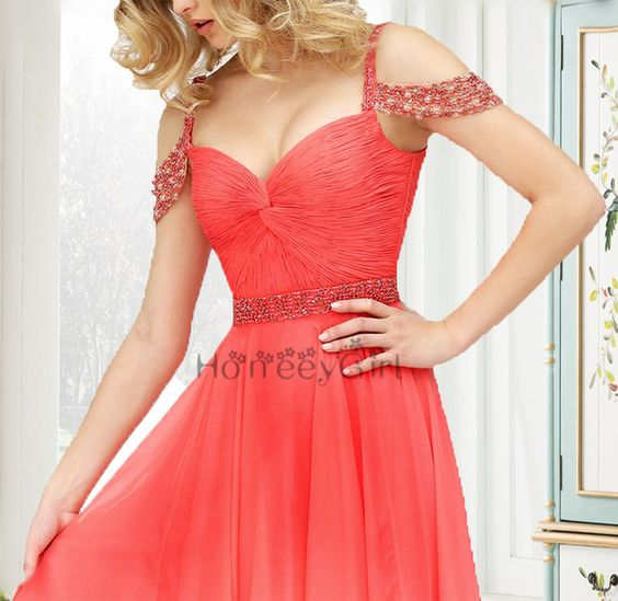 SherriHill Charming Coral chiddon Off Shoulder Beaded Prom Dress With Sleeves,modest fashion Long Party Dress>>http://www.luulla.com/store/honeeygirl
