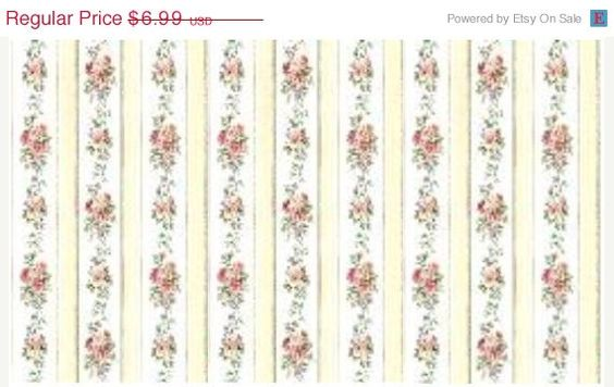 Shabby Cottage Rose Garden Floral Stripe - Yellow, White, Pink, Flowers, Chic, Country, French  - Wallpaper By The Yard - CN24639 fl