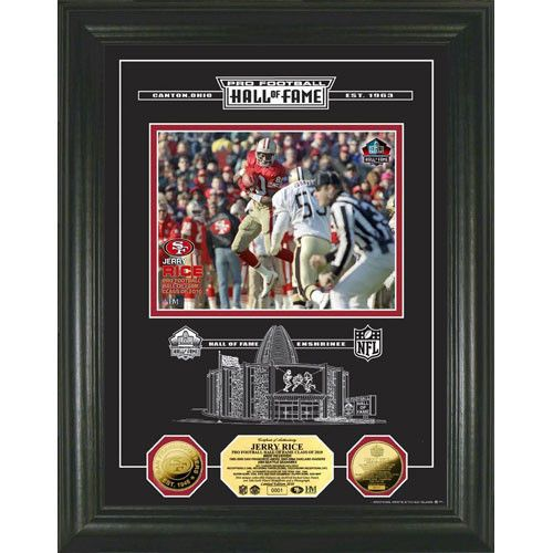 Jerry Rice 24KT ZGold Coin HOF Induction Etched Glass Photo Mint