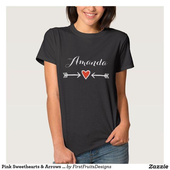 Pink Sweethearts & Arrows White Bridesmaid's Gift T Shirt