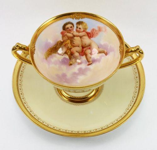 Dresden A.Lamm Cherubs 2-Handled Cup & Saucer