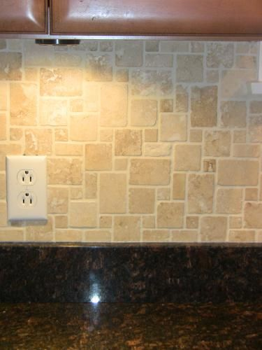Images of kitchens mosaic floors and travertine on pinterest for Best grout color for travertine tile