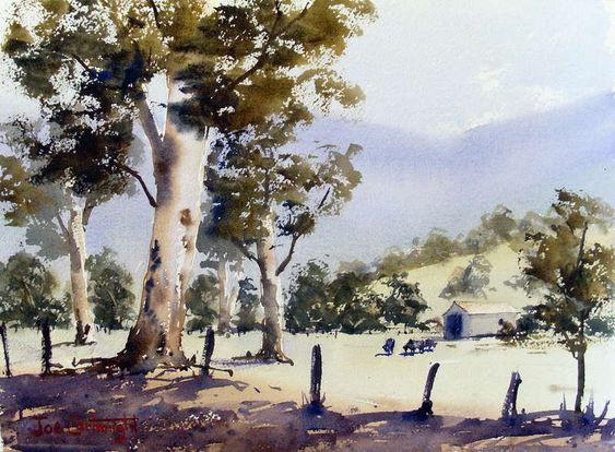 Australian farm watercolor landscape painting | Watercolor ...