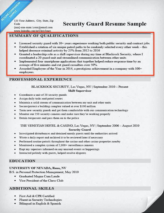 how write summary qualifications resume companion example - security guard sample resume