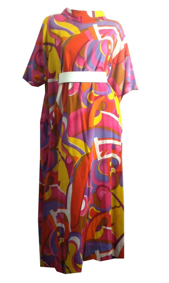 Glittery Psychedelic Print Kaftan Dress circa 1970s