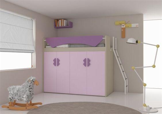 Hoogslaper met kasten voor in de jeugdkamer merk nardi kinderkamer pinterest met - Hoogslaper met geintegreerde garderobe ...