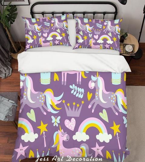 1 3d Purple Unicorn Rainbow Crown Star Quilt Cover Set Bedding Set Pillo Jessartdecoration In 2020 Quilt Cover Bedding Set Bedding Sets