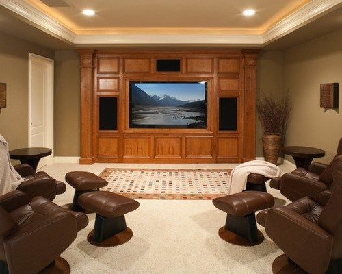 Mid Sized Rustic Home Theater Design Ideas Pictures Remodel Decor
