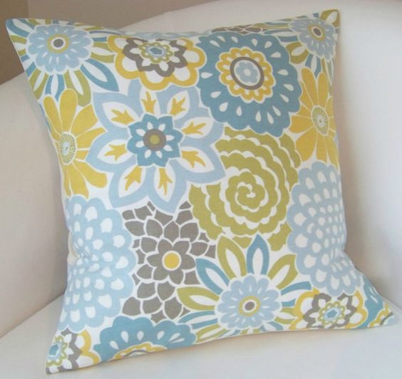 Spa Blue Throw Pillows : Decorative Pillow Cover Spa Blue Yellow Cushion Throw Accent Playroom colors, Tan couches and ...