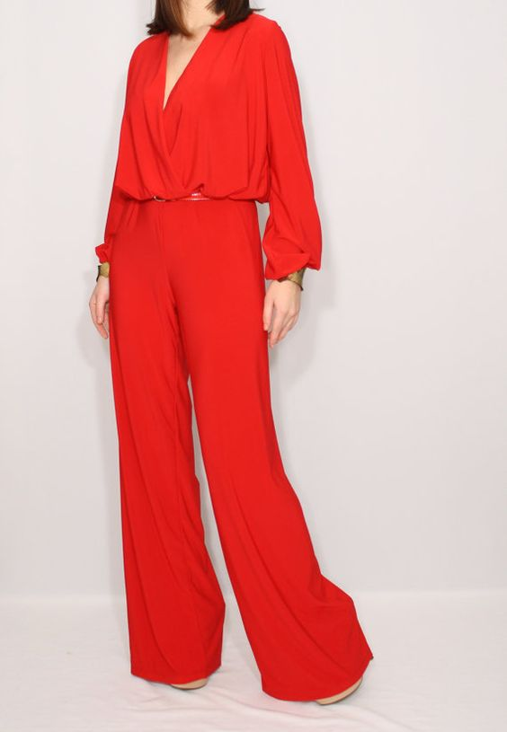 Long sleeve wide leg jumpsuit Red jumpsuit Wrap top by dresslike ...