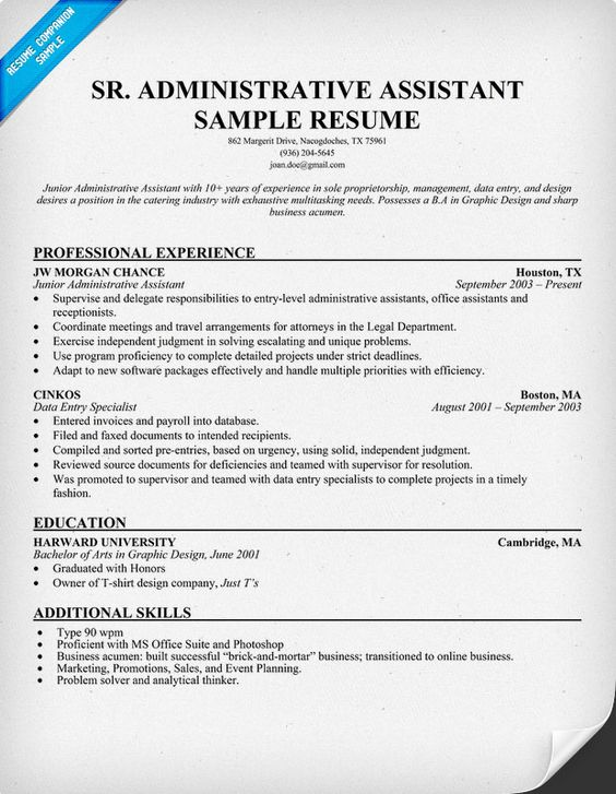 Senior #Administrative Assistant Resume (resumecompanion - executive secretary resume examples