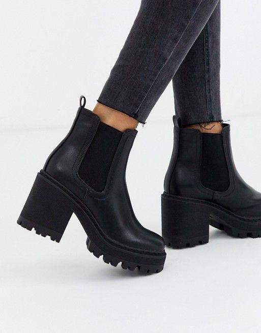 Public Desire Fuzzy chunky heeled ankle boot with gusset in