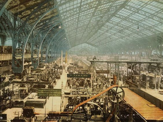 Interior view of the Gallery of Machines, Exposition universelle internationale in Paris. Photochrom 1889 via LOC