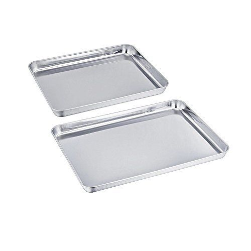 Best Price Uniqme Baking Pan Set Of 2 Pure Stainless Steel Healthy Non Toxic Toaster Oven Tray Pan Rust Free Less Stick Easy Cleaning Toaster Oven Rust Free