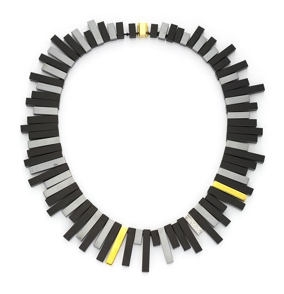 An Onyx, Hematite, Gold and Diamond Fringe Necklace, by Angela Cummings for Tiffany & Co., circa 1980.  Available at FD Gallery. www,fd-inspired.com