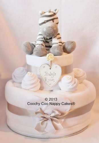 Two Tier Unisex nappy cake baby gift with zebra soft toy baby rattle. Keepsake baby nursery decoration for a new baby, baby shower or maternity leaving gift £45.00 www.coochycoonappycakes.co.uk
