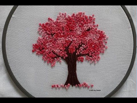 Cherry Blossom Tree Hand Embroidery French Knot Flowers Youtube Embroidery Flowers Pattern Hand Embroidery Flowers Embroidery Flowers