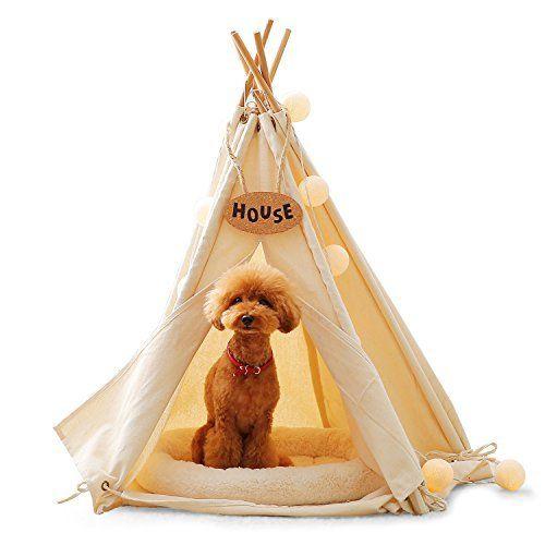 Amazon Milkee ティピーテント ペット テント 犬小屋 ペット 用 テント ペット ハウス 犬 猫 室内 ホワイト S Milkee 犬小屋 犬小屋 小型犬 ビション