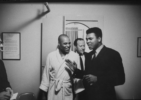 <strong>Not published in LIFE.</strong> James Earl Jones (left), star of the play <em>The Great White Hope</em>, talks with Ali following a performance, New York, 1968.: