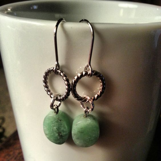 Amazonite Stone Earrings with silver plated by TheCoralDahlia, $14.00