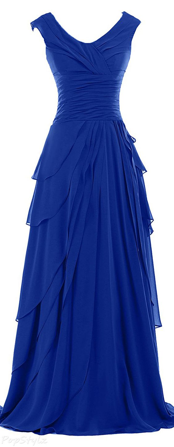Sunvary A-line Ruffled Chiffon Long Formal Dress