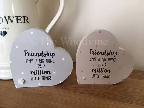 10cm Freestanding Friendship Heart by TheWoodvine on Etsy